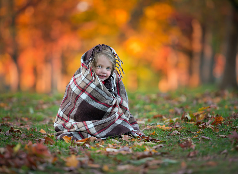 Fall portrait with blankets